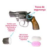 Pistola Revolver Airsoft 100 Bbs + Cartela De Espoletas Ramb