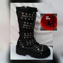 Botas Dark Goticas Con Hebillas, Rock, Metal Luna Alterna.