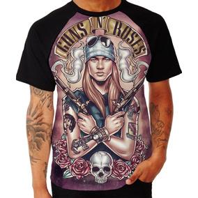 Camisa Guns N Roses Camiseta Banda Rock Slash Axl Raglan