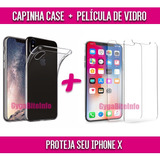 Capinha Case Tpu + Película De Vidro Apple Iphone 10 - X