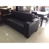 Mueble Sofa En Semicuero Color Negro