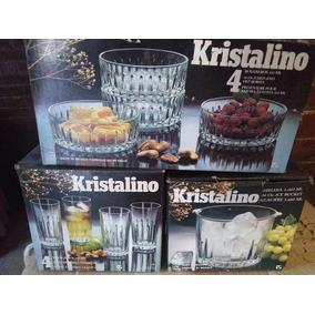 Kit De Vasos, Botaneros Y Hielera De Cristal