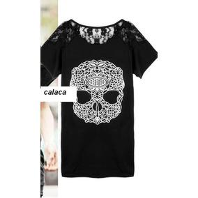 Remera Skull - Calavera -calaca Punk Negra