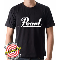 Camiseta Masculina Instrumentos Musicais Pearl Drums.