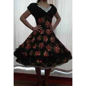 Vestido Huasa China Negro Floreado Con Falso Competencia