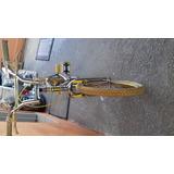 Bicicleta Cross Cromada,com Rodas Aero Amarela,apoio Amarelo