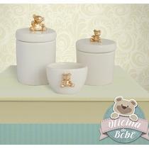 Urso Kit Higiene 3 Pçs Potes Luxo Cerâmica Ursinho Porcelana