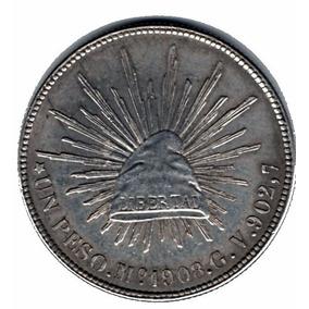 Moneda Antigua Mexico Un Peso Mo 1908 Gv902,7 P1