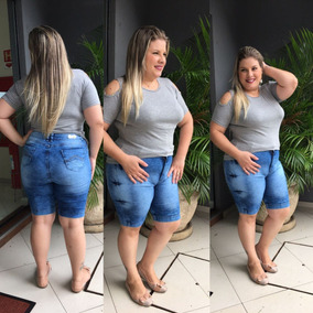 Bermuda Shorts Plus Size Jeans Roupas Femininas Do 46 Ao 54
