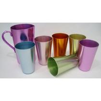 Juego 6 Vasos Jarra Aluminio Anodizado Vintage Pastel 50s