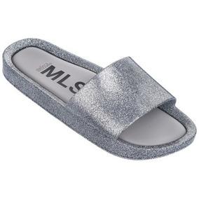 Melissa Beach Slide Shine Vidro Glitter Prata 32291
