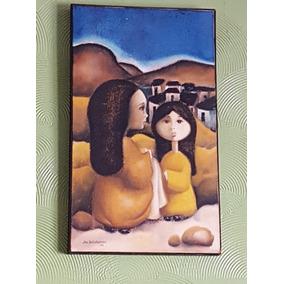 Quadro Óleo Meninas 1976 Jan Bogulansk