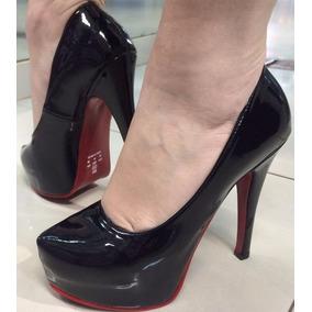 Sapato Meia Pata Fechado Sola Vermelha Plataforma Promoção