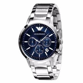 Relógio Emporio Armani Ar2448 Aço Escovado Azul S/ Caixa