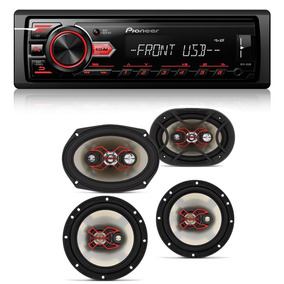 Kit Auto Falante Universal + Toca Rádio Carro Mp3 Player Usb