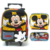 Kit Mochila Escolar Rodinhas Mickey Mouse + Lancheira Estojo
