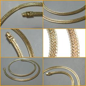 Cadena Tejido Egipcio Acanalado Chapa De Oro 14k