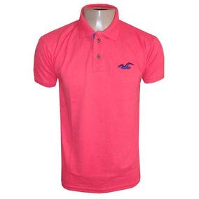 Camisa Hollister Rosa Pink Gola Polo Masculina Camiseta