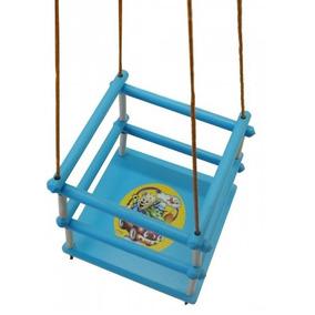 Balanço Infantil Bebê Em Madeira C/ Corda Azul Alf Briquedos