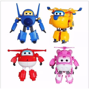 Kit 4 Avioes Aviao Super Wings Grande Transforma Brinquedos
