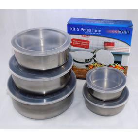 Kit Conjunto 5 Potes Inox Com Tampa Casa Bella Novo Leilao *