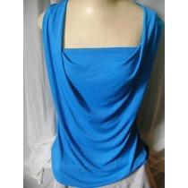 Blusa Em Malha Azul Da Cosh G