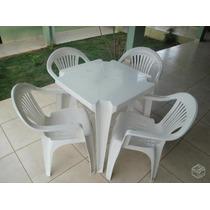 Conjunto 1 Mesa E 4 Cadeiras Poltronas Original Goyana 140 K