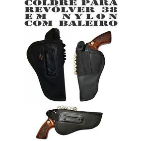 Coldre Canhoto Para Revólver 38 Em Nylon Baleiro E Passador
