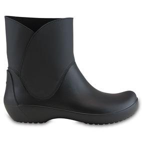 Crocs Originales Rainfloe Bootie Negro Mujer 001