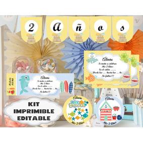 Kit Imprimible Verano Sol Y Playa Festa Pileta Piscina 2*1