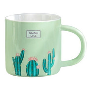 Taza Con Cuchara Cactus Love Cafe Tarro Ceramica