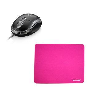 Kit Multilaser Mouse Preto Usb / Mouse Pad Slim De Tecido