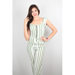 Palazzo Jumpsuit Pantalon Off Shoulders Casual Rayado