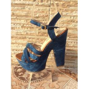 Sandalias Plataforma Jeans De Moda Mujer Calzado Colombiano