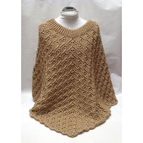 Capa Poncho Tejido A Crochet Color Beige