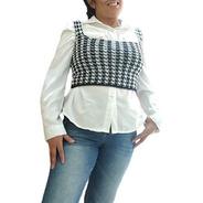 Colete Cropped Preto Branco Moda Blogueira Tricot Pied Poule