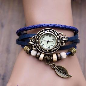 Relógio Feminino Pulseira Couro Azul Com Pingente Vintage