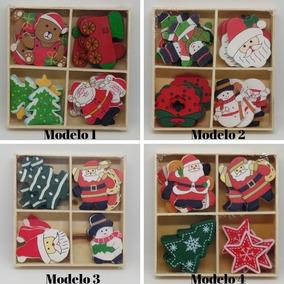 Adornos Navideños Decoracion Navidad X 20 Madera Adhesivo
