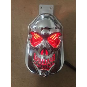 Lanterna Traseira Moto Custom Skull Caveira Suporte Placa Pa