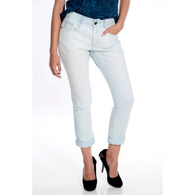 Calça Jeans Feminina Marca My Place Boyfriend Azul Claro