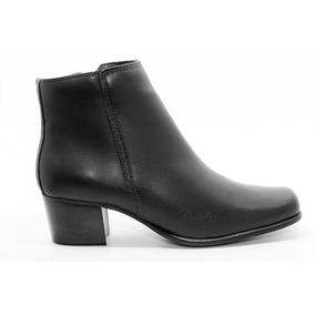Bota Feminina Bico Quadrado Comfort - Couro De Carneiro