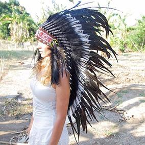 Penacho Indigena Apache Indio Adultos 23 Blanco Con Negro