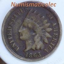 Moneda 1 Centavo Cabeza De Indio 1963 Fecha Escasa Dificil