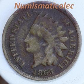 Moneda 1 Centavo Cabeza De Indio 1863 Fecha Escasa Dificil