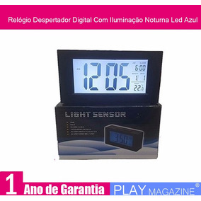 Relógio Despertador Digital Com Iluminação Noturna Led Azul