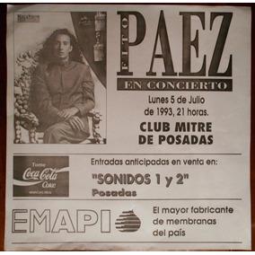 Afiche Fito Paez Concierto Club Mitre Posadas Misiones 1993