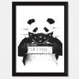 Quadro Panda Polícia, Bad Boy Decoração Quarto, Sala Moldura