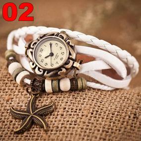 Relógio Pulseira Couro Estrela Mar Feminina Branca