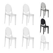 Kit 4 Cadeiras Victoria Ghost Policarbonato Várias Cores