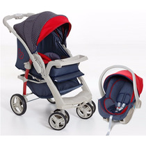 Kit Carrinho De Bebê + Bebê Conforto Galzerano Optimus Jeans